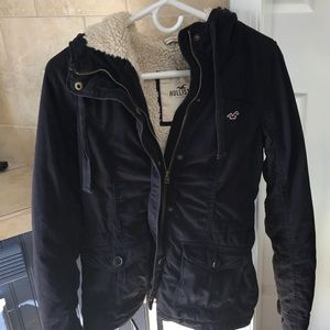 Hollister navy Sherpa lined hooded coat